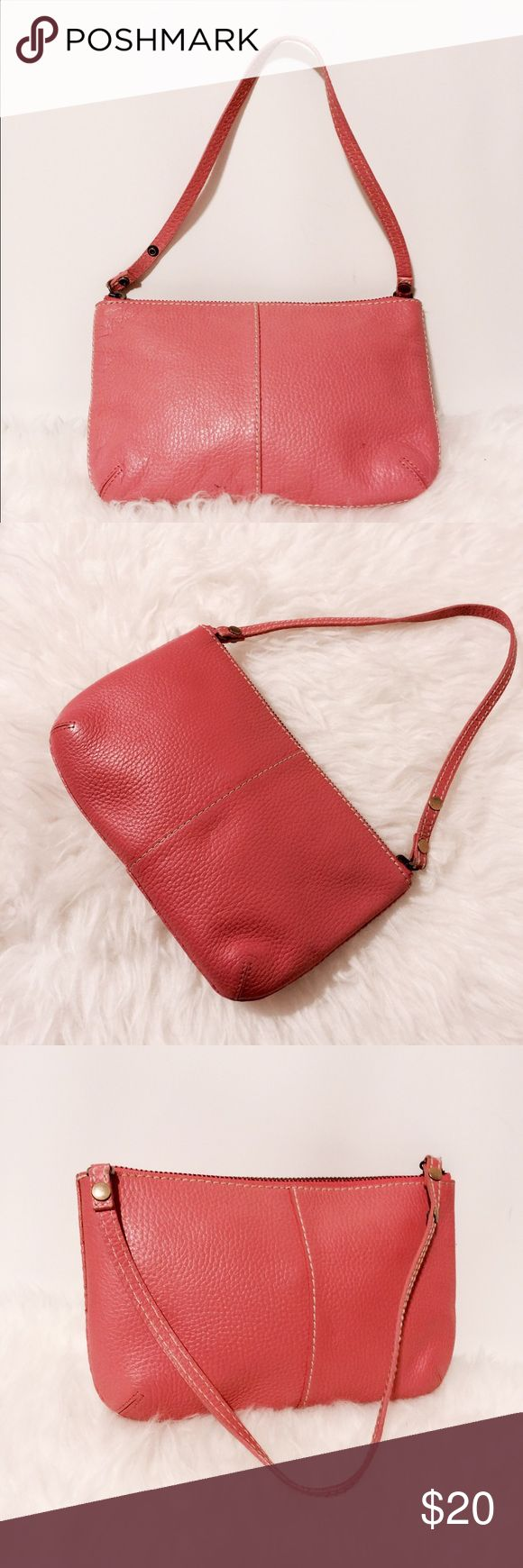 ✨ GAP Pink Pebble Grain Leather Wristlet Cute! Pink pebble grain leather with cream top topstitching. Features zipper closure One into yet super pocket fully lined and white and pink polkadots. 100% Leather GAP Bags Clutches & Wristlets