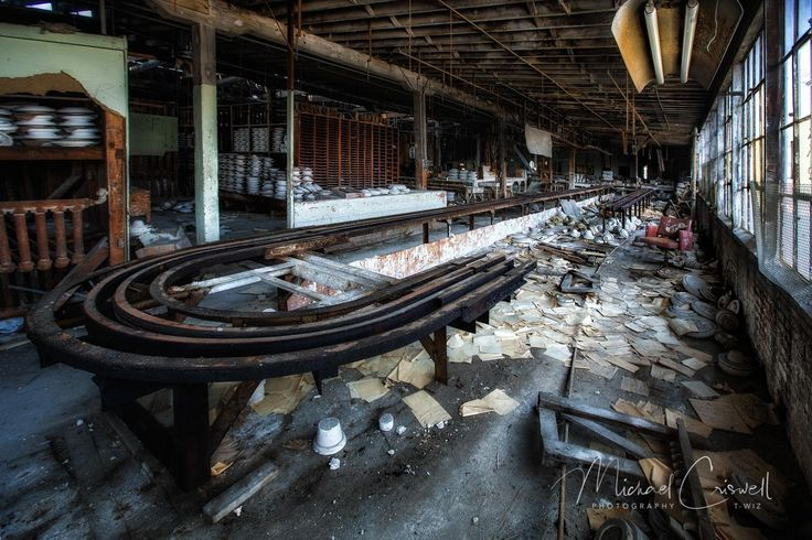 """Convey ⋆ Michael Criswell Photography """"Theaterwiz""""  Another eerie scene from the abandoned Shenango China Plant in Pennsylvania. This room housed some type of conveyor system for the china. The room also contained molds and finished pieces of china in various states of production. They just hit the off switch and left the facility forever."""