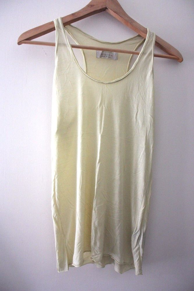 All saints yellow green colour vest top racer back size 6 light allsaints  #AllSaints #top