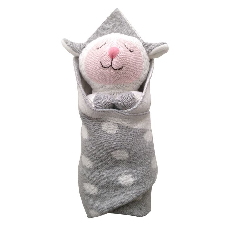Cutest toy EVER! -2 piece set for only $36 - best gift for taking home new baby to toddlers--Lucy the Lamb Burrito Baby with Blankie by The Little Acorn