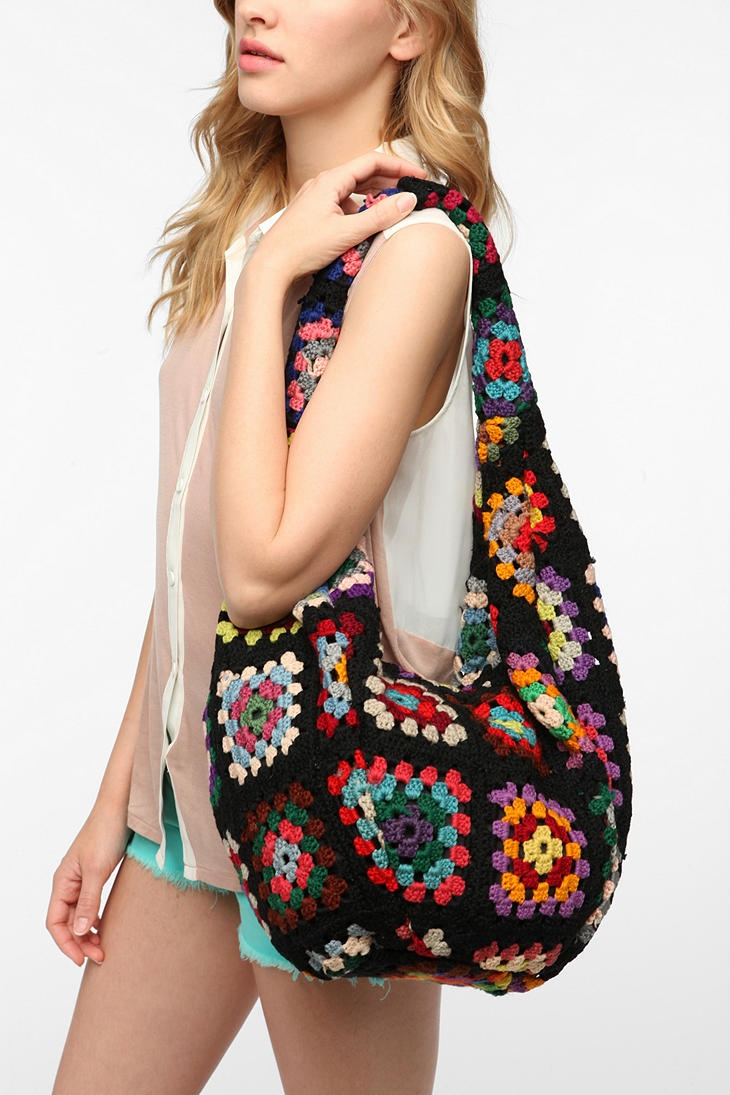 Urban Renewal Crocheted Hobo Bag - darks, lights, or brights