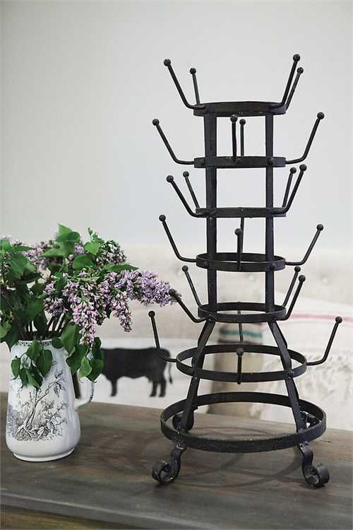 Antique style french bottle drying rack and mug tree for Wine bottle christmas tree frame for sale