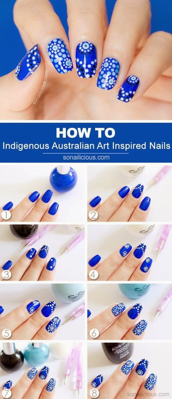 Australian Nail Designer Tutorial. Easy to follow step by step nail polish intructions. Follow this tutorial to get bright pretty nail designs and color ideas. #nails #beauty