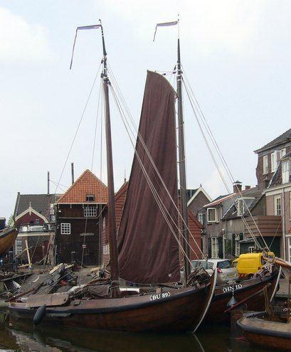 """Old sailingships, called """"botters"""" in the harbour of picturesque Spakenburg, the Netherlands."""