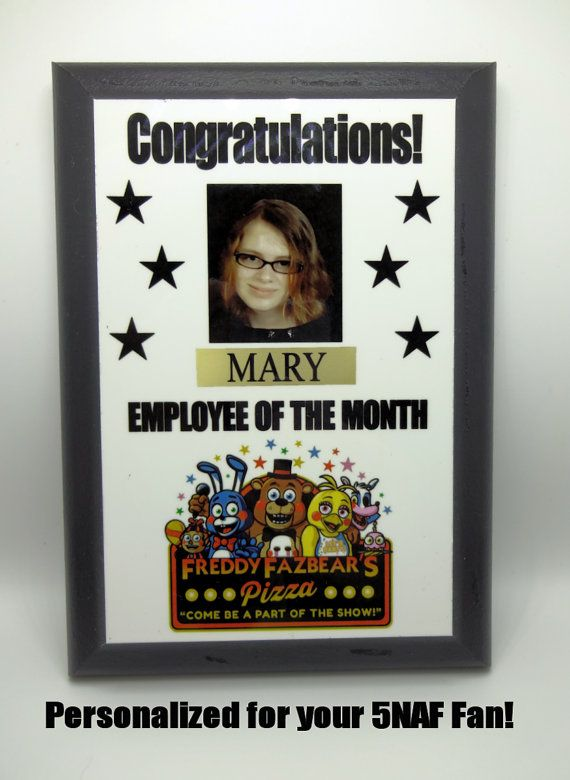Awesome!  Five Nights At Freddy's Employee of the Month award!  #fivenightsatfreddys #5naf