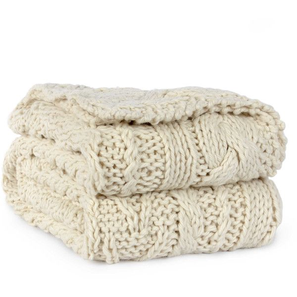Berkshire Fisherman Hand-Knit Cable Throw (36 NZD) ❤ liked on Polyvore featuring home, bed & bath, bedding, blankets, hand knit throw, cable blanket, hand knit blanket, hand knitted blanket and cable-knit throw
