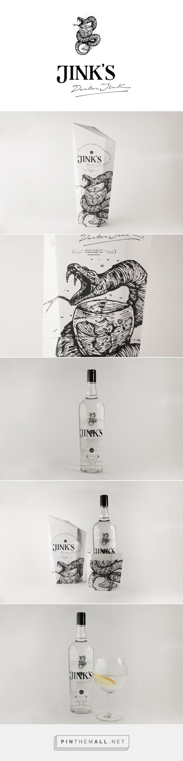JINKS - ANAMORPHIC PACKAGING on Behance curated by Packaging Diva PD. Interesting London Gin packaging.