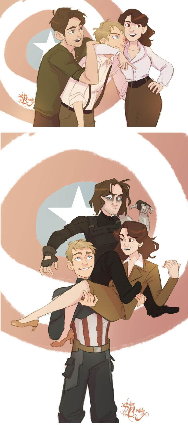 BEFORE: Bucky Barnes, Steve Rogers, and Peggy Carter AFTER: Captain America, the…