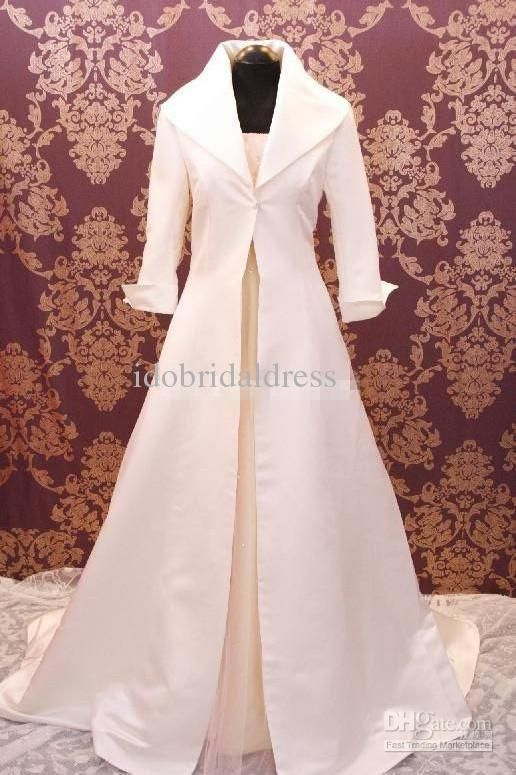New Arrival 2017 3 4 Sleeve Satin Any Colour Custom Made Wedding Bridal Coat