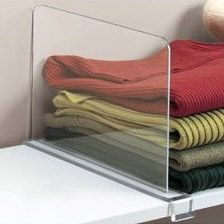 Shelf dividers. Would work perfectly for storing handbags so they don't topple over on closet shelves.
