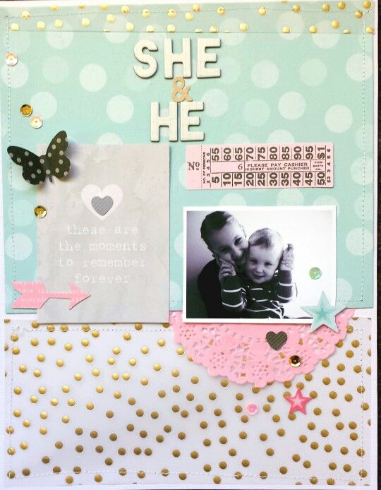 APOCD Friday Favourites : She & He layout by Amanda Baldwin featuring June Main Cake Kit