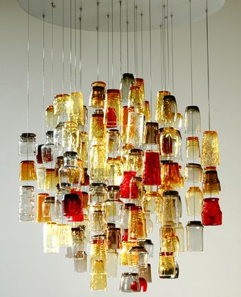 bottle chandelier: Recycled Glasses, Glass Chandelier, Ideas, Lights Fixtures, Shots Glasses, Glasses Chandeliers, Glasses Lamps, Diy, Design