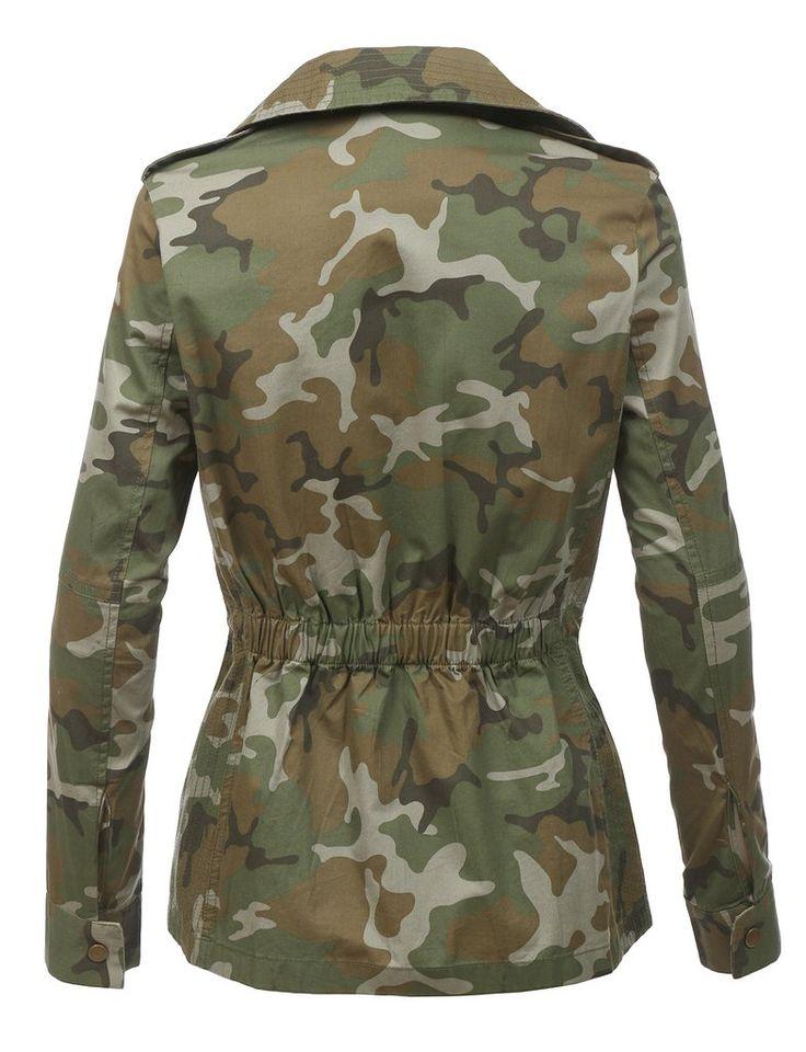 LE3NO Womens Long Sleeve Camo Military Anorak Jacket with Pockets | LE3NO