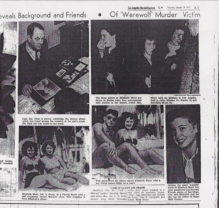Newspaper coverage of The Black Dahlia case.