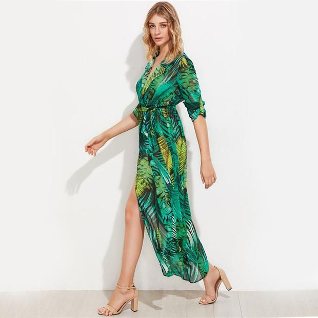 Green Palm Leaf Dress