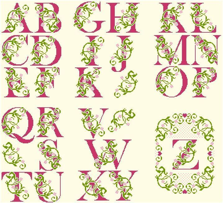 Floral alphabet. Free sewing pattern graph for cross stitch or plastic canvas.
