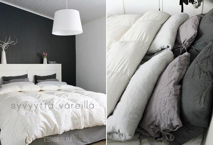 Esmeralda's blogger Essi made some examples in bedding: http://esmeraldas.bellablogit.fi/petausvinkkeja/