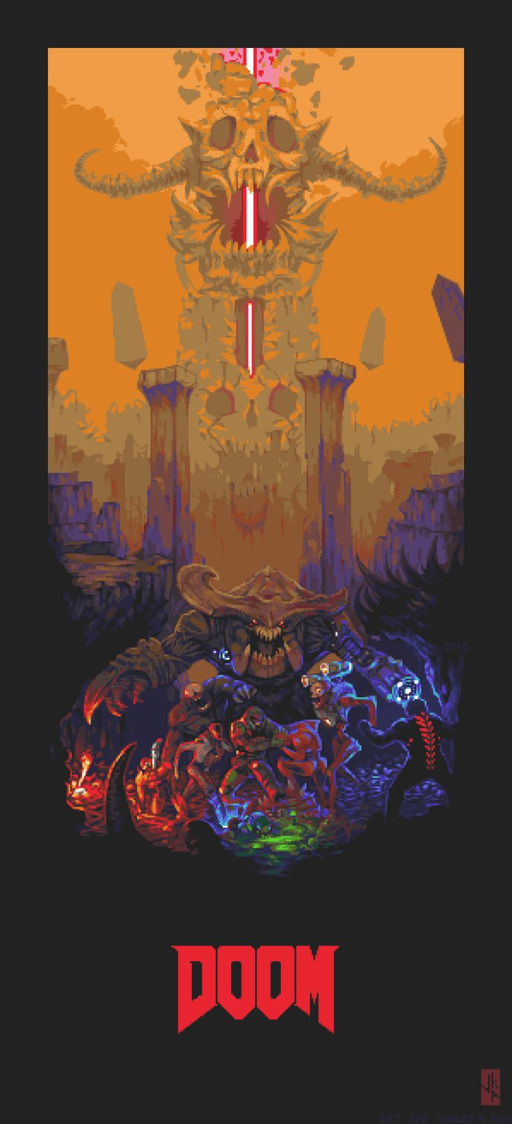 Valery Kim Pixel Art — DOOM Poster 44 colours