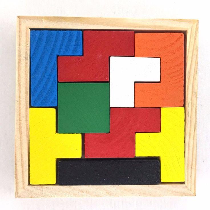 Wooden Tangram Brain Teaser Tetris Puzzle Game Educational Child Kid Toy For Children Toys