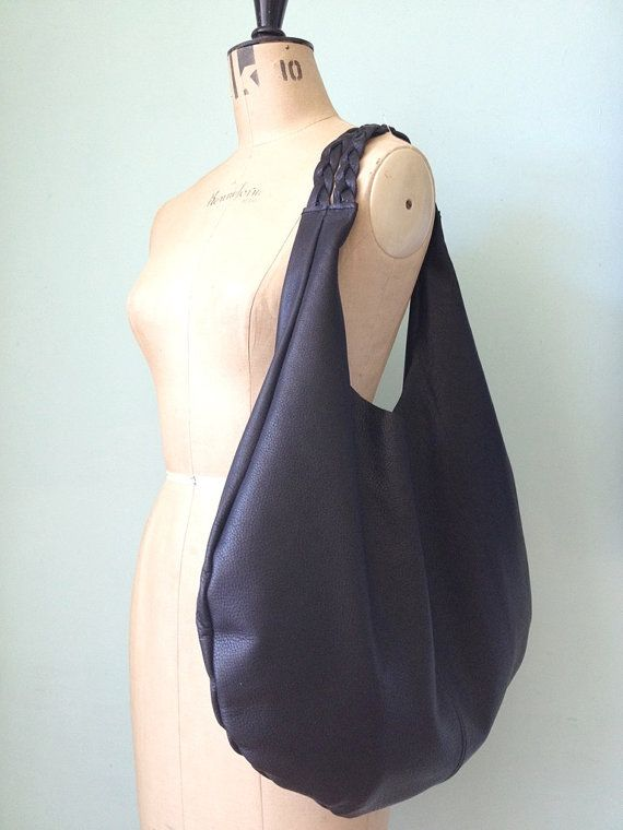 Black leather hobo bag oversized leather slouch by GingerandBrown