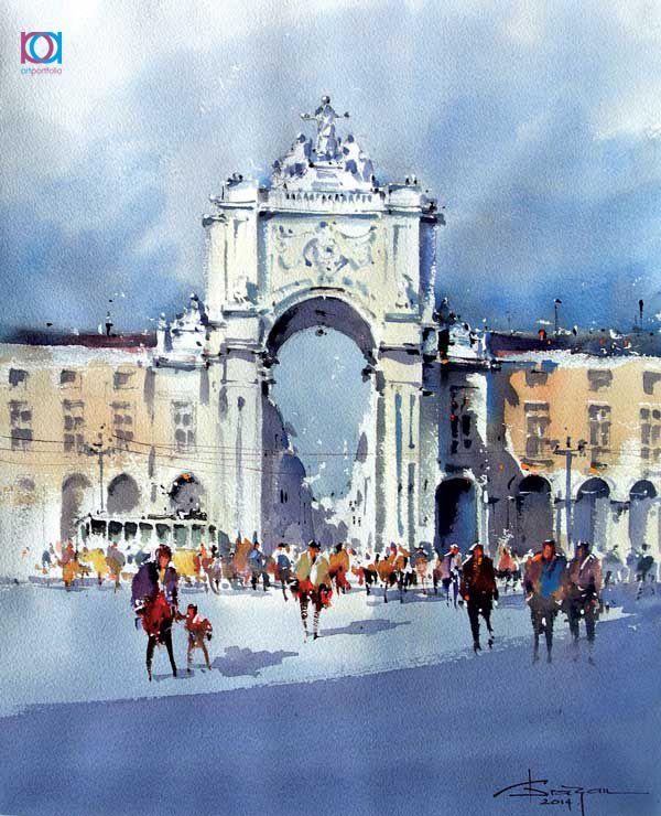 Corneliu Drăgan- Târgoviște – Lisbon, acuarelă