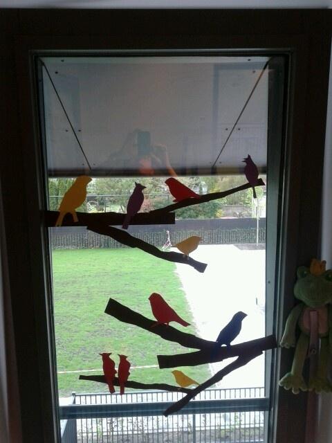Vogeltjes op het raam