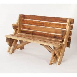 Inklapbare tuinbank, te transformeren als picknicktafel! Leuk! Verkrijgbaar bij Bakker De Houthandel