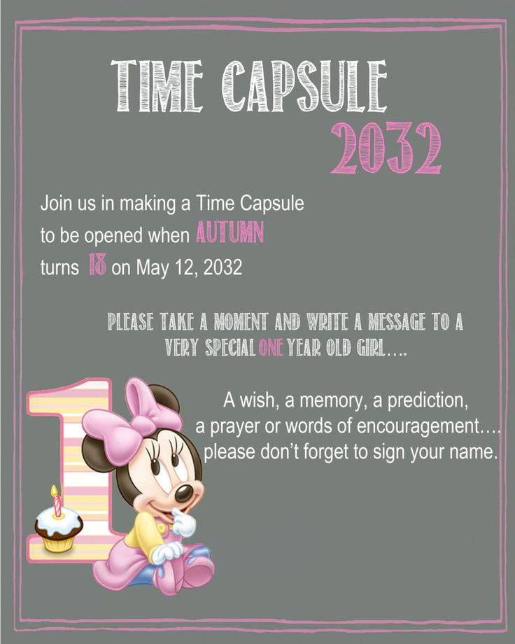 Minnie Mouse Chalkboard Time Capsule Sign for a First Birthday by YourSweetDetails on Etsy