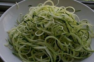 zucchini 'pasta' with basil butter