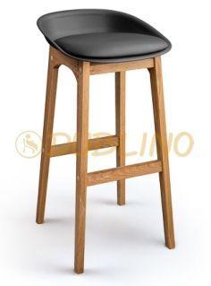 DL CONCORD BS BLACK OAK - Tölgyfa lábas, fekete műanyag design bárszék