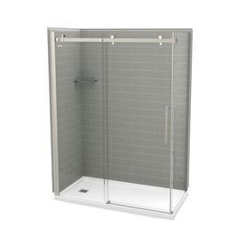 Maax Utile Metro Ash Grey Fiberglassandplastic Composite Wall Acrylic Floor Rectangle 5-Piece Corner Shower Kit (Actual: