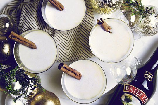 Baileys EggNog: The classic, homely combination can be done deliciously and simply as here: a pour of Baileys Original Irish Cream, plus egg, milk and a pinch of nutmeg for a great serve.