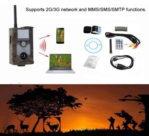 Lixada 2G/3G GSM CDMA MMS/SMS/SMTP 16MP 0.5S Trigger Time 120° Wide Lens Portable Wildlife Hunting Camera HD Digital Infrared Scouting Trail Camera 940NM IR LED Night Vision 1080P Video Recorder