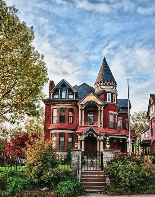 Kansas city missouri red brick queen anne victorian for Brick victorian house