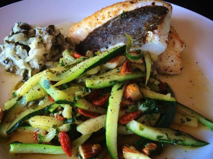Pete Evans recipe: Pan fry fish in coconut oil, take fish out then toss in zucchini strips, garlic, parsley, goji berries, activated almonds, salt and pepper. Once cooked for a minute take off heat and drizzle with extra virgin olive oil and lemon juice and chill flakes.