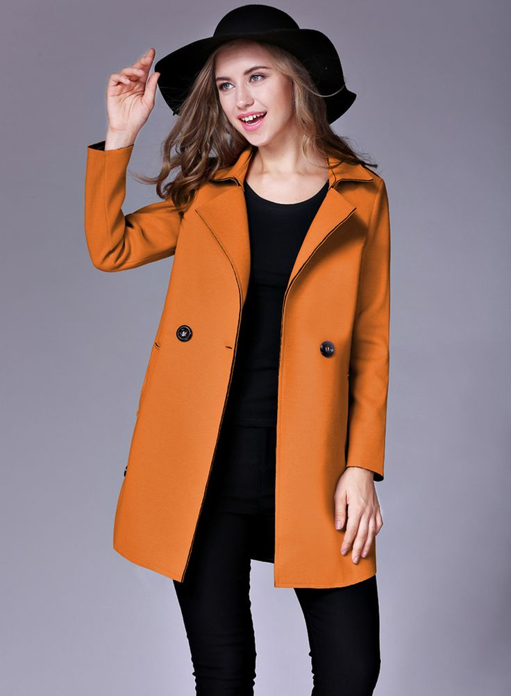 Turn Down Collar Long Sleeve Solid Color Slim Fit Long Coat   victoriaswing