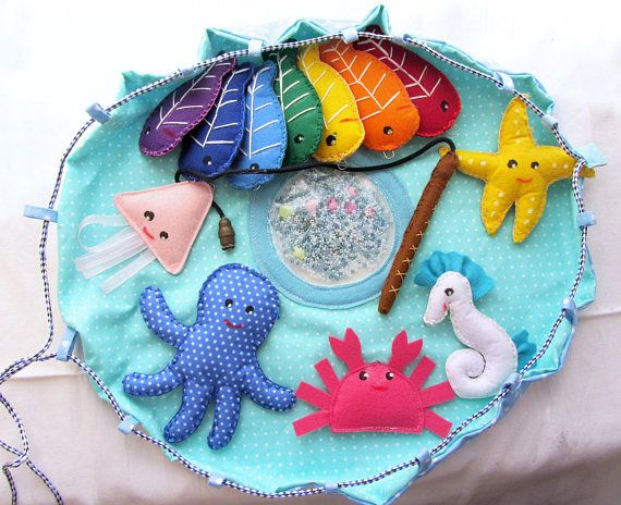 Magnetic Fishing Game Kids X-tray fish, Sensory Toy, Travel toy, Felt fishing with fishing pole and a pond, Felt sea animals