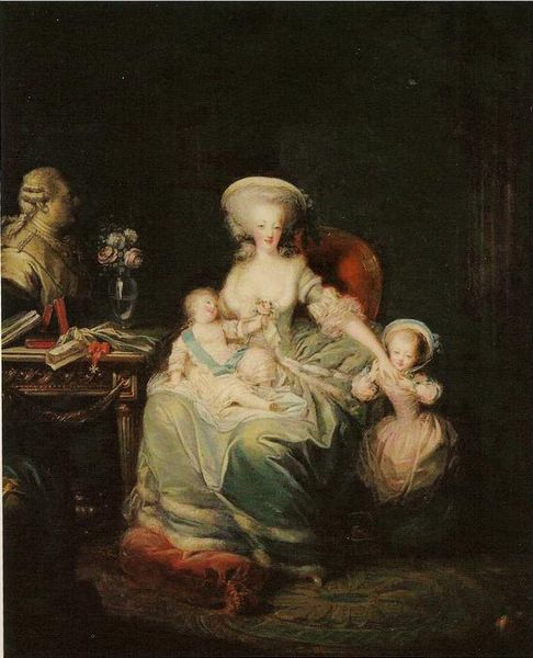 Marie Antoinette with her son Louis Joseph, Dauphin of France and daughter Madame Royale overlooked by a bust of Louis XVI.jpg