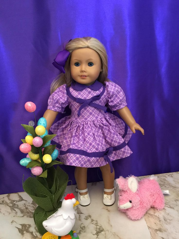 Homemade Doll Clothes For 18 Inch Dolls Like American Girl Dolls: Sale Includes Spring Dress  And Hair Bow Made From Simplicity Patter. by CutzieDollFashions on Etsy