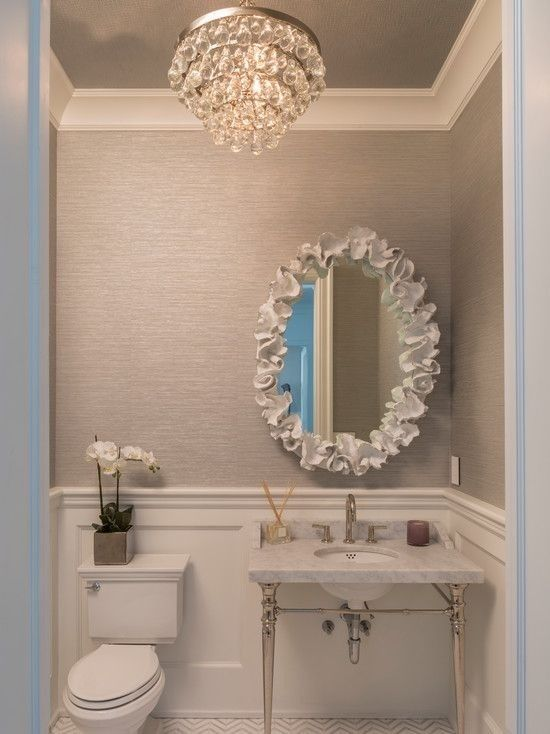 Powder room ideas-I love the wainscoting, wall paper and light fixture. Simple and elegant.