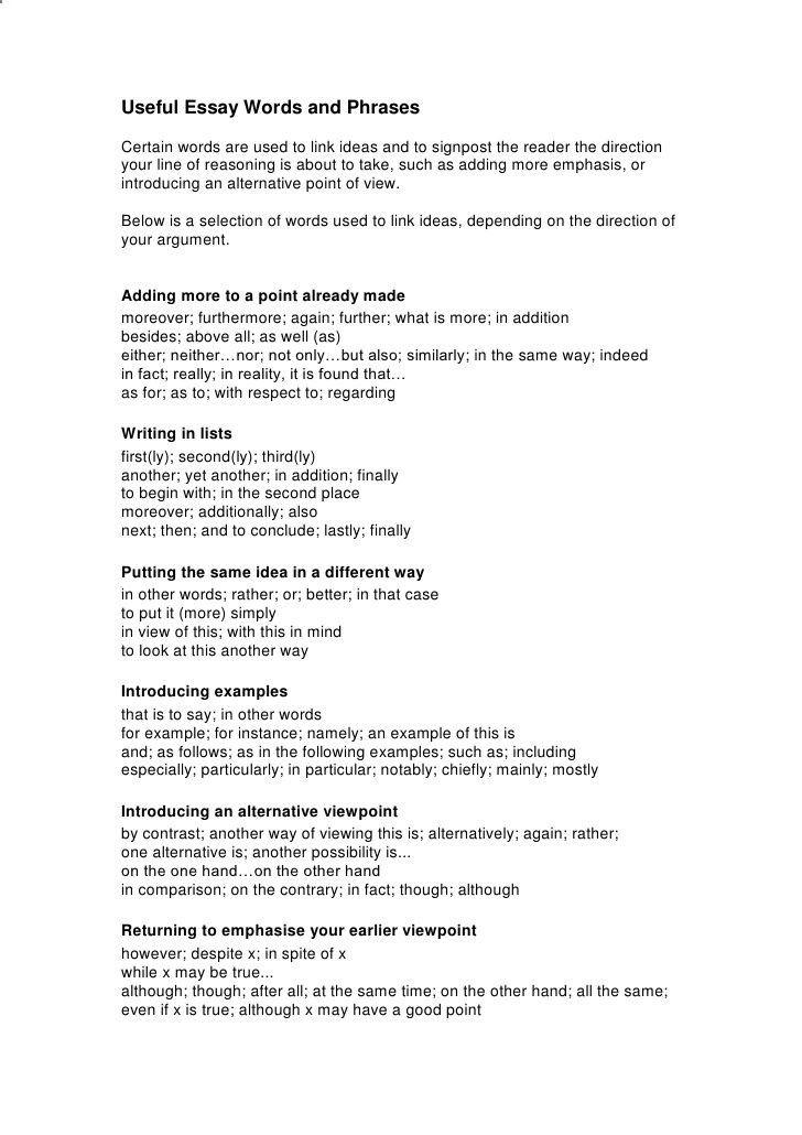 Useful Argumentative Essay Word And Phrase By Englishbite Via Slideshare Topics Define Succes