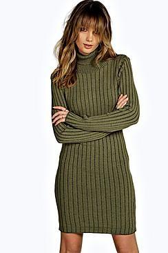 Kayleigh Roll Neck Rib Knit Jumper Dress
