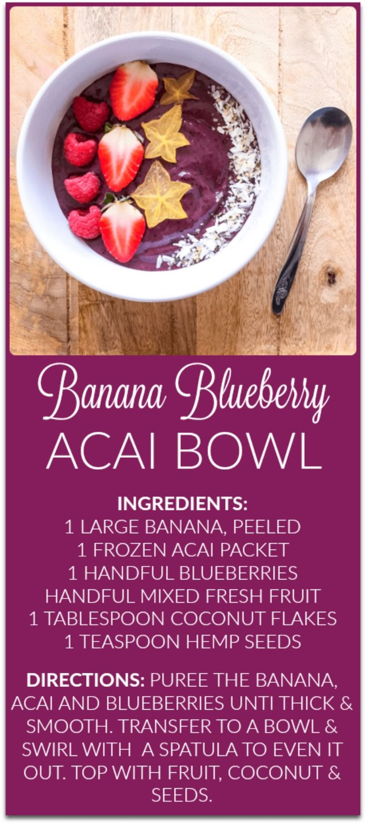 Berry Acai Bowl. Easy breakfast ideas. Healthy breakfast. Easy smoothie recipes. Smoothie bowls.
