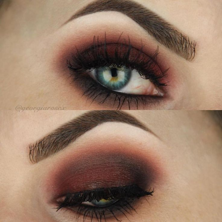 """90s inspired Grunge We can't wait to rock this makeup look for Fall with a flannel and vampy lips. Red brown smokey eyes are everything. ❤️"