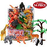 Animals Determine54 Piece Mini Jungle Animals Toys Set With Reward FieldValeforToy Lifelike Wild Animal Studying Occasion Favors Toys For Boys Ladies Youngsters Toddlers Forest Small Farm Animals Toys Playset
