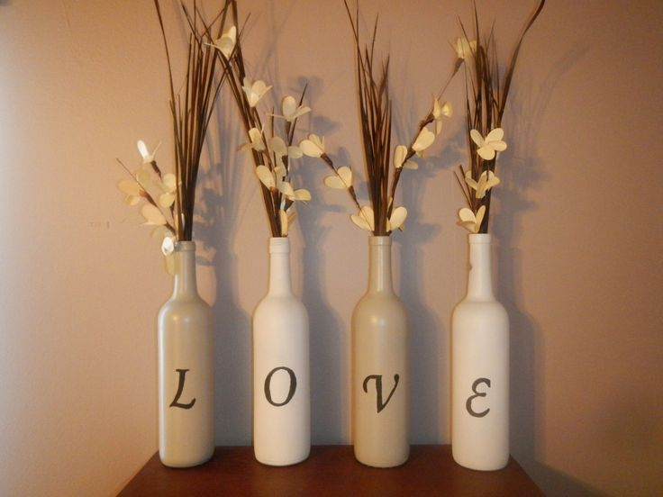 Recycled Painted Wine Bottles by ConesusCreations on Etsy,