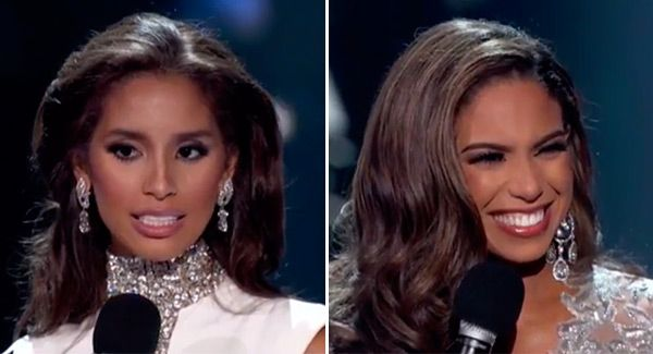Eek, this was a little hard to watch! Miss Rhode Island and Miss Nevada were able to make it all the way to the Top 5 of the 2015 Miss USA pageant, but both ladies froze up a bit while answering the judges' final questions during the interview round. Get the scoop on their unfortunate mess ups here.