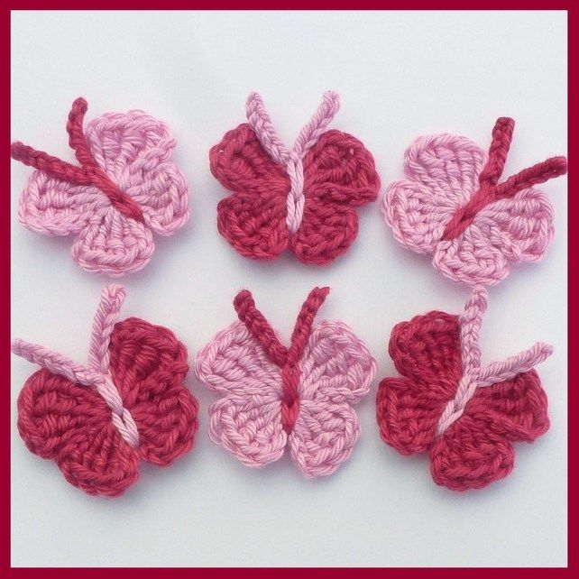 6 Small dark pink and pink crochet butterflies, appliques and embellishments £3.00