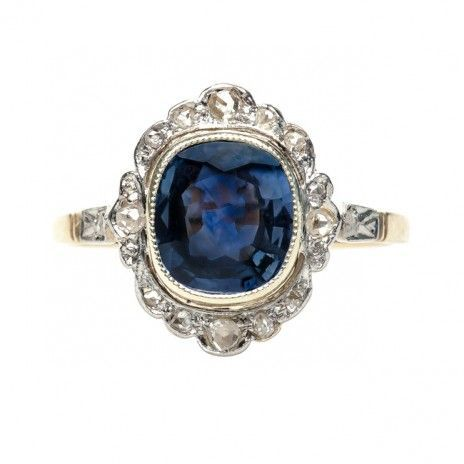 @trumpetandhorn have done it again! Just a glimpse of this gorgeous Edwardian sapphire ring (and yep, those are rose cut diamonds surrounding the sapphire!) made my knees weak and my heart race.... http://bit.ly/1iWea1O