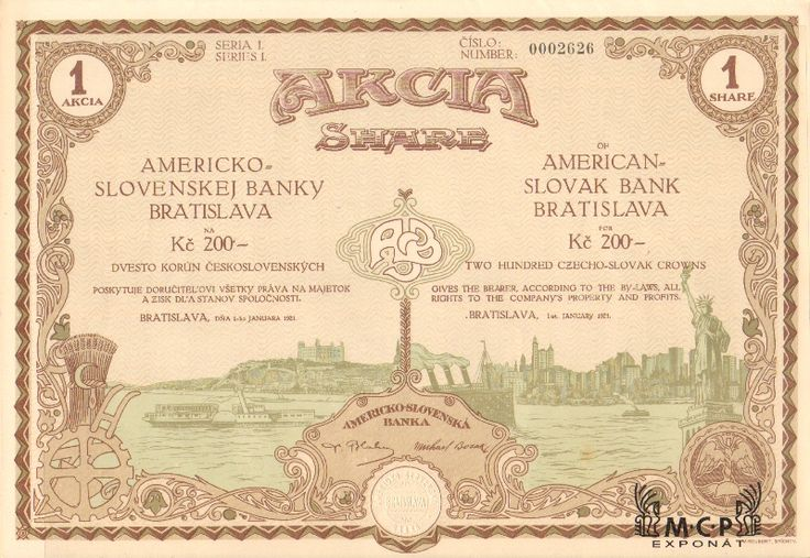 Muzeum cennych papiru A2160 AMERICKO-SLOVENSKÁ BANKA / AMERICAN SLOVAK BANK BRATISLAVA 1921